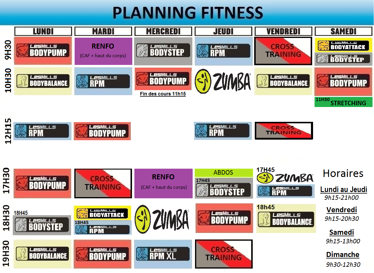 Planning 2019 des cours de sport collectifs de Miami Fit Vertou - Nantes